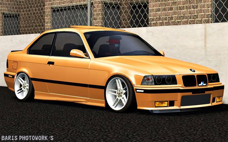Bmw e36 Araba Yaması Lfs altın sarısı Bmw e36 jantlı ve tweakli yaması